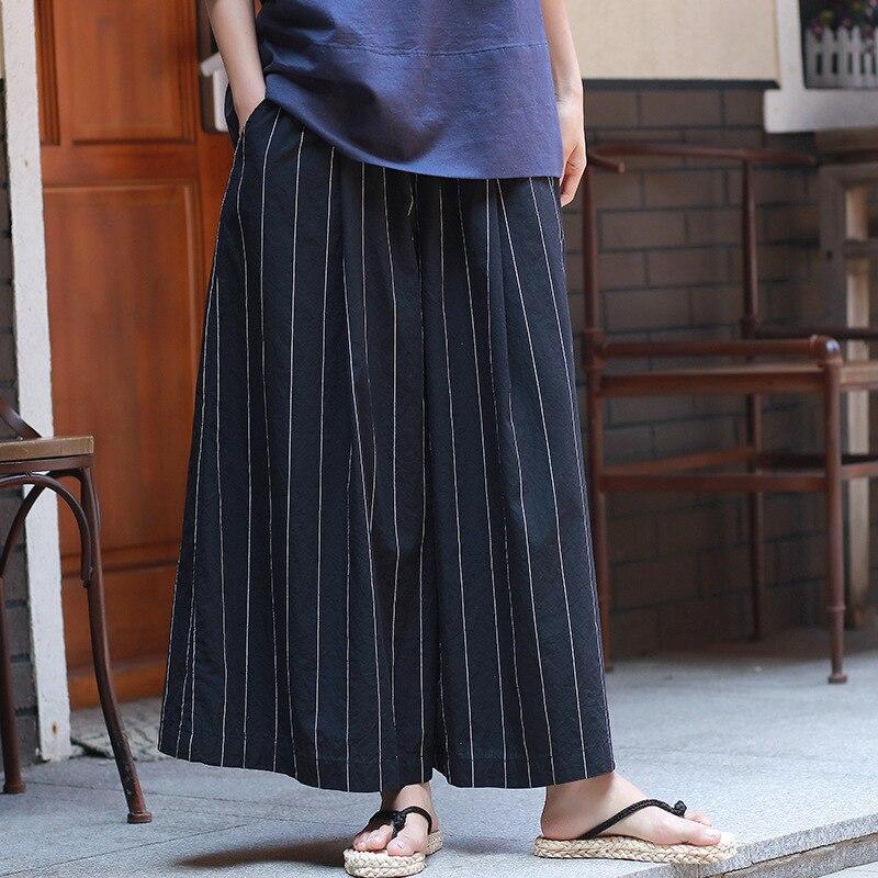 97d87871e35 ORIGOODS Black White Striped Wide leg Pants Women Summer Cotton Linen  Fashion Pants Skirt Plus size Women Wide leg Trousers C178-in Pants    Capris from ...