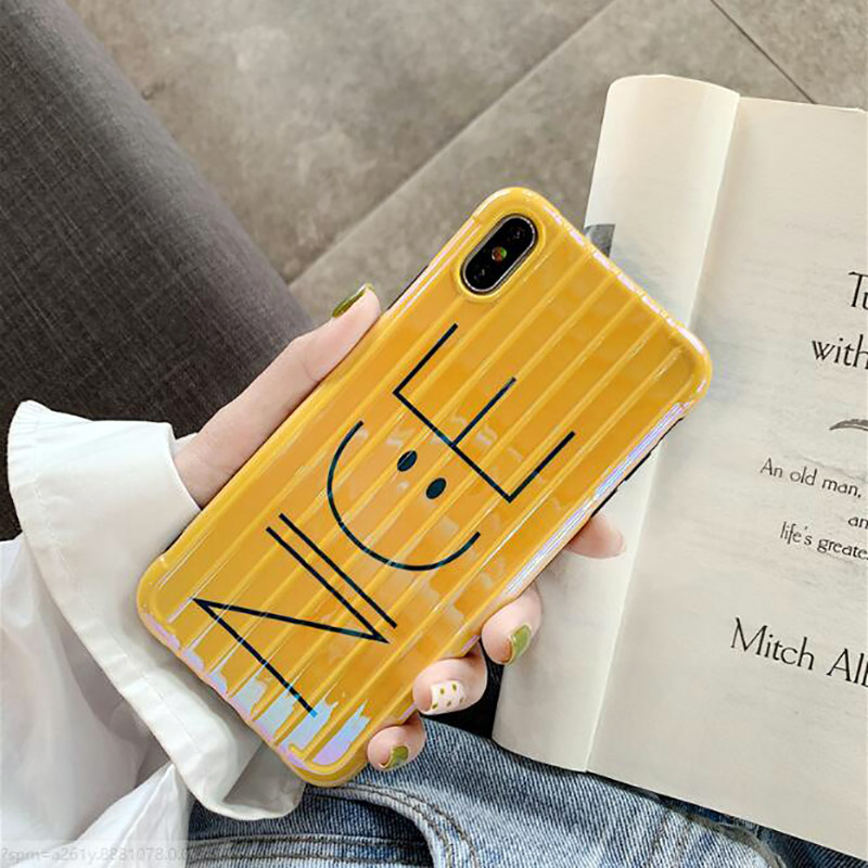 Smile Face Nice Luggage Case for iPhone 6 6S 7 8 Plus X XS XS MAX Yellow Blue Nice Smile Face For Apple iPhones Cover Cases 3F in Half wrapped Cases from Cellphones Telecommunications