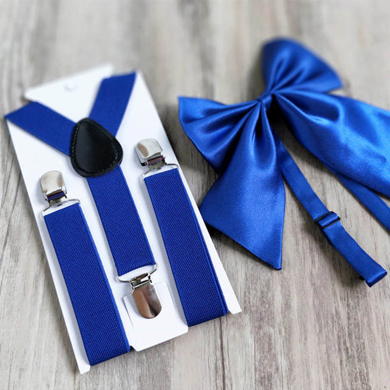 OnnPnnQ Novelty Kids Solid Suspenders Set Y-back Bowtie Bow Tie Adjust Elastic Suspenders Pants Clothes Accessories For Children