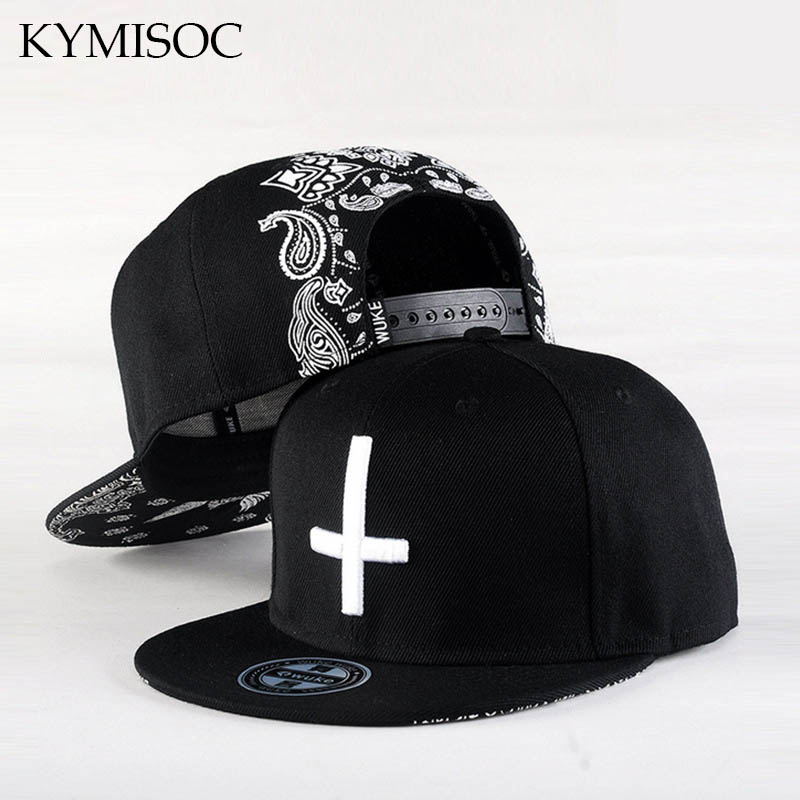 New Arrival Baseball Cap Men Cross 3D Embroidered Cap Hip Hop Black Bandanna Print Hats Women Adjustable 2016 new new embroidered hold onto your friends casquette polos baseball cap strapback black white pink for men women cap