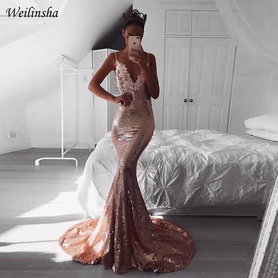 V Robes Soirée Dos Robe De Profond Sexy Bal Sirène Rose Sequin Manches Weilinsha Gold Mousseux Col Ouvert HEI2D9