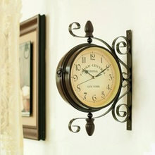 Retro Mediterranean metal double sided wall clock European-style garden vintage wall clock metal Mute two sided home decoration
