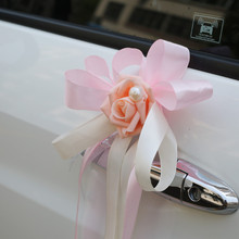 DIY Multi Color Wedding Car Decoration Rearview Mirror Decor Flowers Ribbon Bow Tie DIY Natural Artificial Rose Flowers