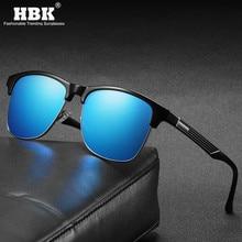 Gafas de sol de tonos polarizados cuadrados para hombre, para deportes al aire libre, revestimiento clásico, película Azul cómoda, gafas medio marco negro