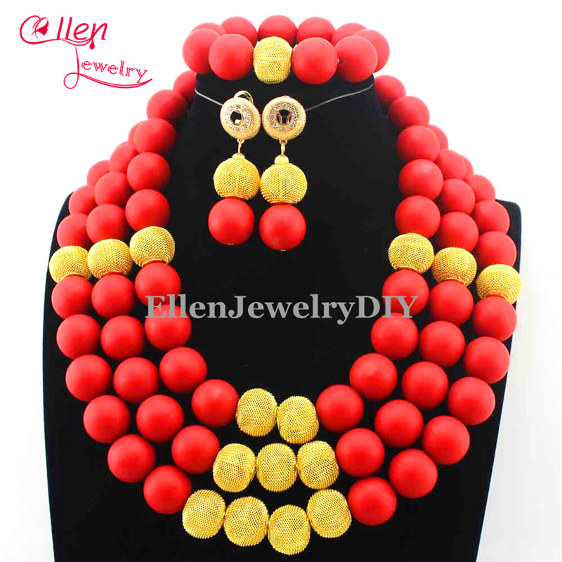 2016 Latest African Wedding Coral Beads Jewelry Set African Costume Jewelry Set Christmas earrings Free Shipping E1131
