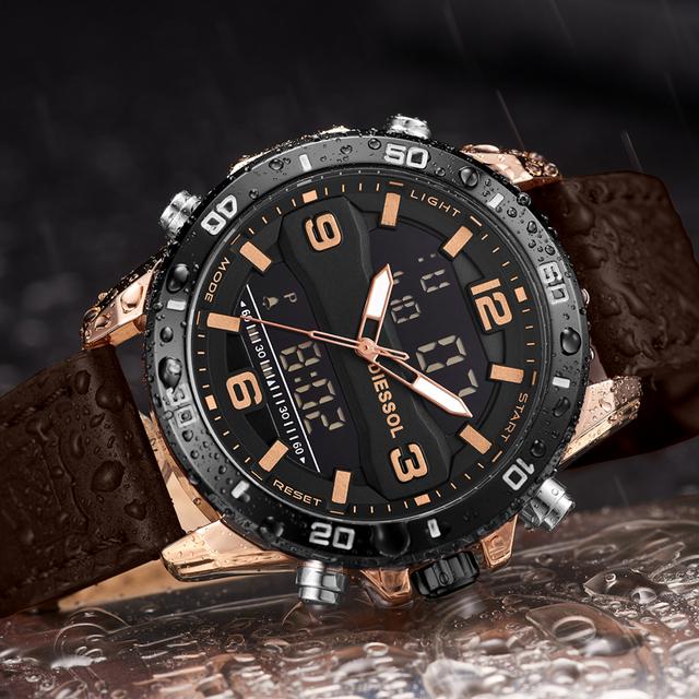 Mens Watches Top Brand Luxury Leather Strap Quartz Watch Men Military Sport Digital Watches Waterproof Relogio Masculino