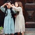 Chica vestido largo de encaje con sweet flor para la edad 3-12 bebés y Niños Princesa Vestidos de Crema Verde de Manga Larga Vestido de Fiesta de Bodas
