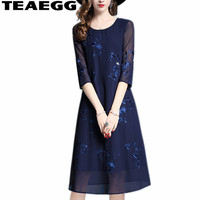 TEAEGG Robe Vintage Dress Chiffon Embroidery Blue Dress Summer Women Clothes 2019 Vestidos Mujer Ladies Dresses Casual AL1179