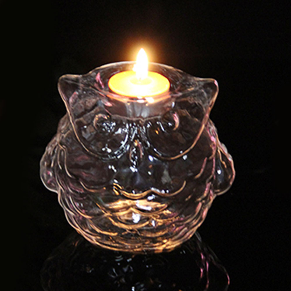 Owl Shape Glass Candlestick With Candle Home Decoration Lighting Romantic