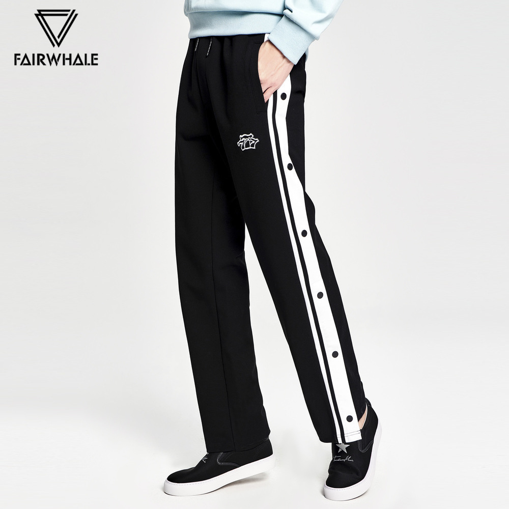 Mark Fairwhale 2019 Men Straight Pants Casual Mid Waist Drawstring Side Stripe Printed Knitted Pants 718123017004