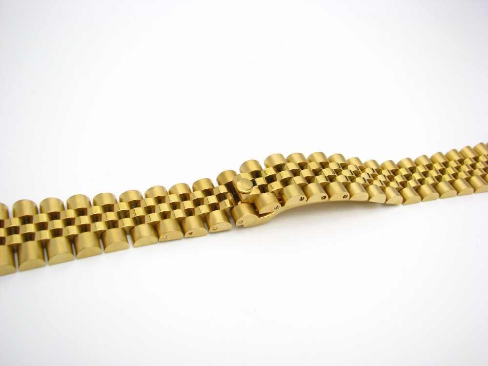 CARLYWET 20mm 316L Acero inoxidable Jubileo plata TwoTone oro reloj pulsera Correa pulsera sólido tornillo enlaces extremo curvado