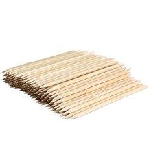 Venta al por mayor 100 unids Nail Art de Orange palillos de madera de la cutícula empujador de la cutícula removedor para manicura Nail herramientas