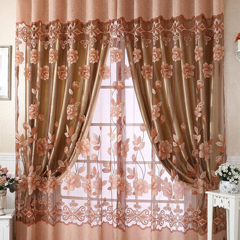 A31 2.5*1M Peony Voile Curtain Room Window Tulle Sheer Curtain Valance Purple VBE72 T30