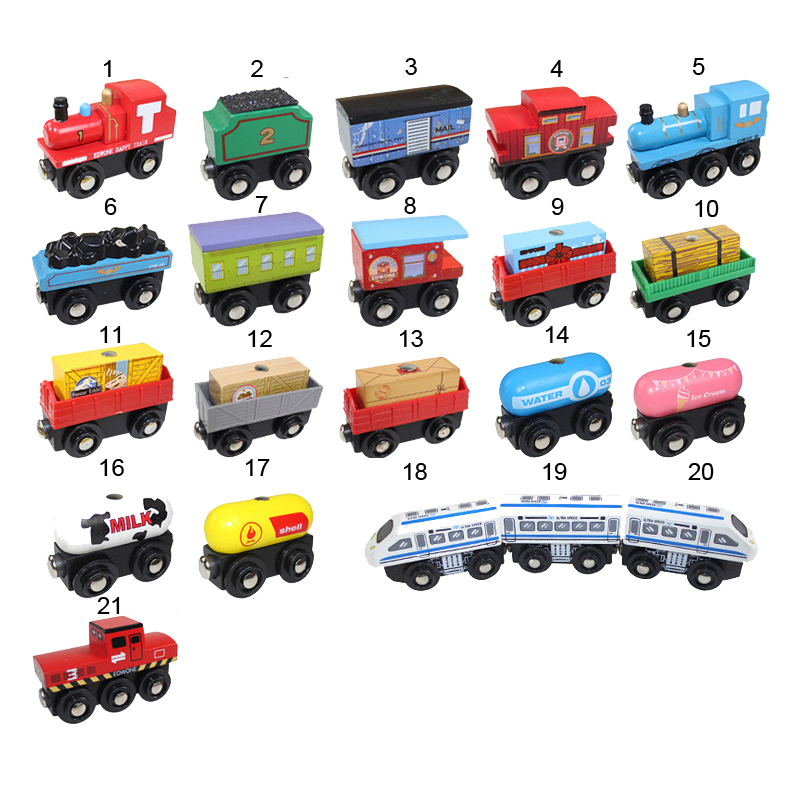 10pcs/lot Newest Fashion Wooden Train Toys Magnetic  Railway Trian head Best Toys educational for Kids's Birthdays Gift