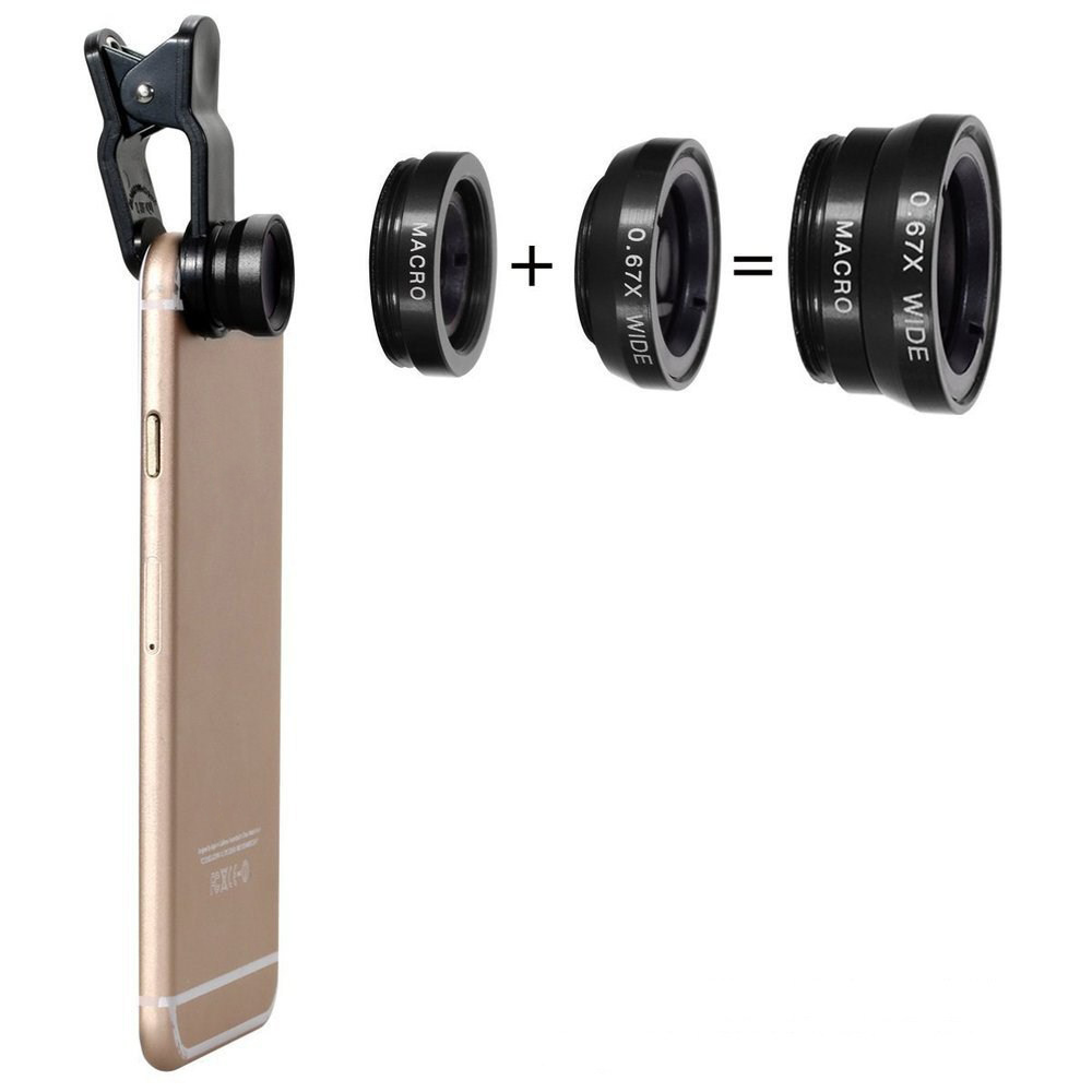 Universal len Wide Angle Macro Fisheye smart mobile phone lenses Camera for huawei For apple iphone x 8 7 6 6s plus xiaomi redmi image