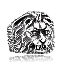 stainless steel PUNK biker lion ring personality jewelry animal gift(China)