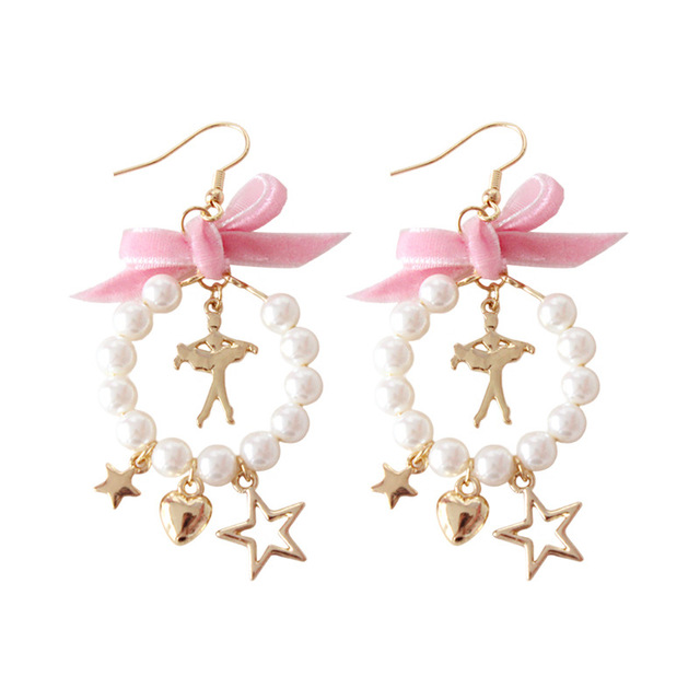 Fashion Cute White Imitation Pearl Gold Color Stars Earrings Pink Bow Bowknote Ballet Dancer Stud