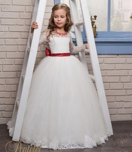 Elegant Cute Lace Appliques Flower Girl Dresses With Red Bow Sequin Ball Gown Long Sleeve Pageant Communion Dresses FH130