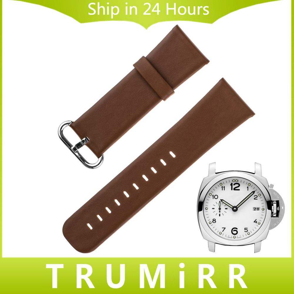 Genuine Leather Watchband 22mm 24mm for Panerai PAM Luminor Radiomir Watch Band Stainless Steel Buckle Strap Wrist Belt Bracelet цена 2016