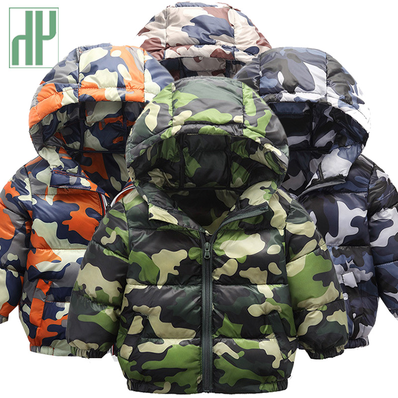 HH Kids girls winter jackets camouflage printing Down Jackets Hooded children's fashion clothing Outwear for boys warm clothes fashion camouflage printing tank top for men