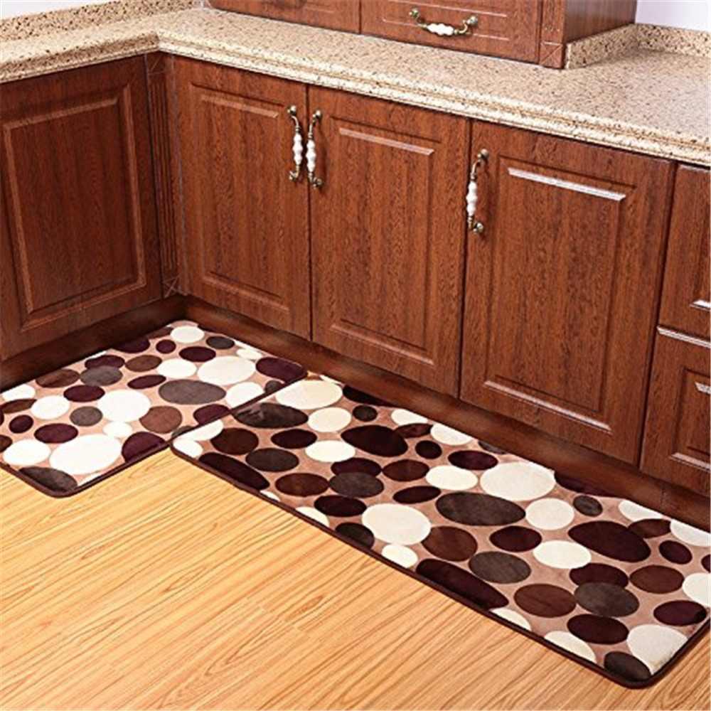 2Pcs 50x80cm+50x120cm Coral Fleece Memory Foam Bathroom Carpet Washable  Kitchen Rug Non-Slip Absorbent Coral Floor Runner Mats