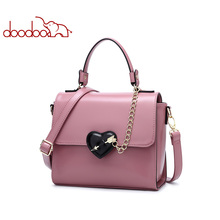 DOODOO Women Leather Handbag Tote Bag Female Shoulder Crossbody Bags Ladies Artificial Leather Top-handle Bag Chain Heart-shaped