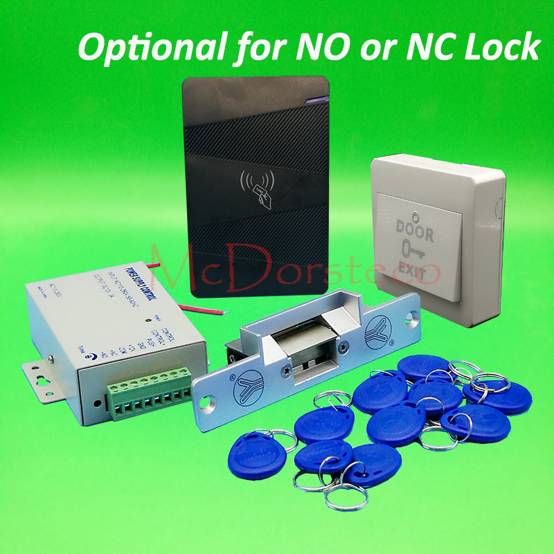 DIY Rfid waterproof Door Access Control Kit Set with No or Nc Electric Strike Lock+10 RFID keyfob Card Full Door Lock System diy waterproof 125khz rfid door access control kit set electric strike lock 10 rfid card outdoor touch keypad access control