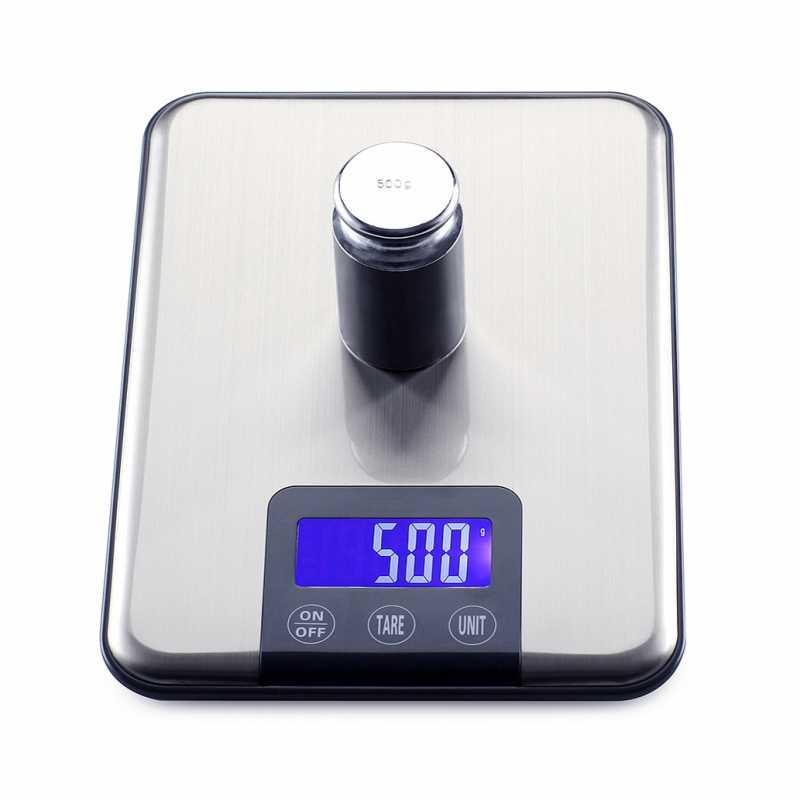 Offre spéciale!!! 100% Original 15 kg/1g Ultra-mince en acier inoxydable alimentaire balances Cuisine rétro-éclairage LCD Balance Cuisine numérique Terazi