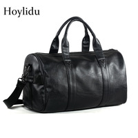 Free Shipping Popular Design PU Leather Weekend Duffel Bag Portable Highcapacity Men's Leisure Business Travel Bag Black Handbag