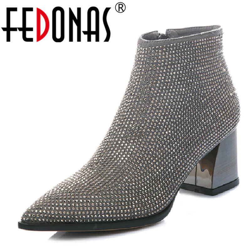 FEDONAS 1New Arrival Women Ankle Boots Autumn Winter Warm High Heels Shoes Woman Suede Leather Bling Party Prom Dancing Pumps fedonas 1new women mid calf boots autumn winter warm high heels shoes woman pointed toe elegant bling party prom dancing pumps