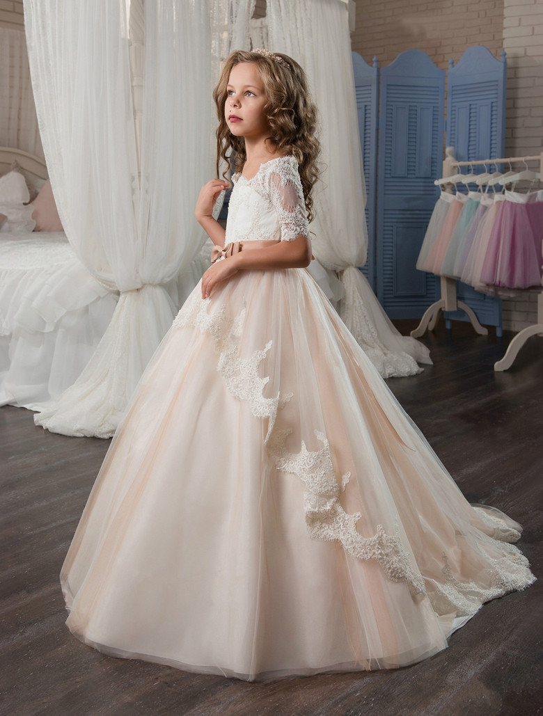 Pageant Dresses for Girls Glitz Lace Ball Gown O-neck Long Sleeves ...