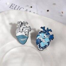 Broches de coração para homens coração humano broches mar onda rio coração emblema broches para homens mulher ambientalista