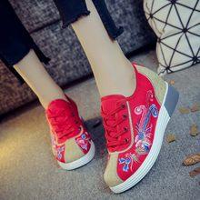 178ba67c0 Mulheres Pano Sapatos Velhos Pequim chinês Novo 2018 Primavera Lona  Ocasional Sapatos Bordados de Flores aumentou