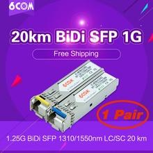 Free Shipping! Fiber Optic Transceiver 1.25G WDM SFP 20KM 1310/1550nm BIDI SFP 1.25Gb LC Connector DDM  Tranceiver (1-Pair) free shipping in stock 100%new and original 3 years warranty ge sfp lh40 sm1550 bidi 40km