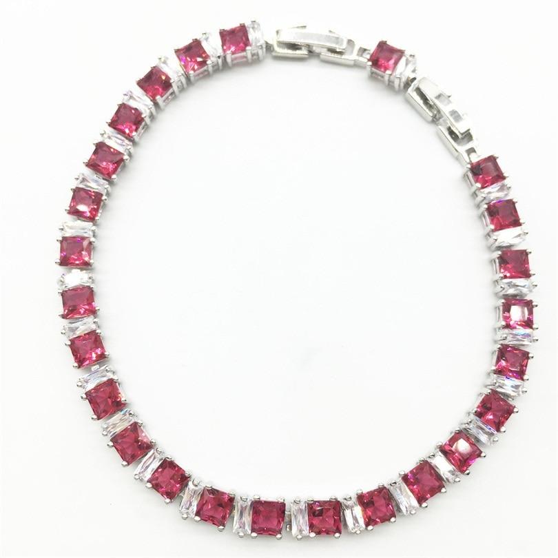 Женские браслеты из стерлингового серебра с цепочкой, белый цвет, розовый камень, ювелирные изделия, рождественский подарок, бесплатная дос...