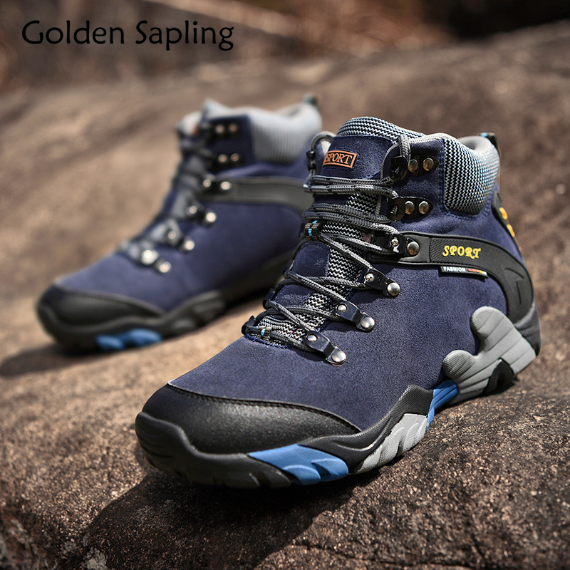 Golden Sapling Camping Sneakers Mens Hiking Boots Breathable Leather Waterproof Shoes Men Mountain Trekking Outdoor Shoes Man цена
