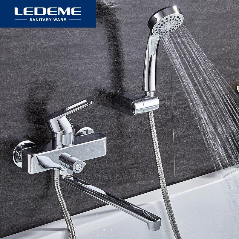LEDEME Смеситель для ванны с длинным изливом 300мм. латунь Цвет: хром L2255