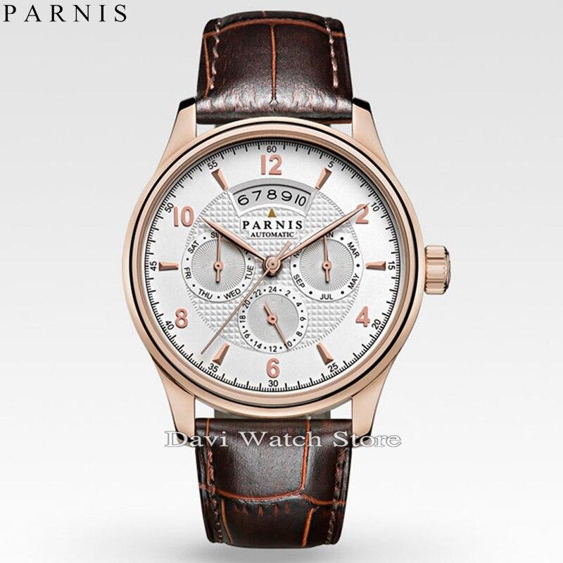 Parnis 42 ملليمتر الطلب الأبيض روز الذهب حالة 26 جواهر miyota التلقائية ووتش-في الساعات الميكانيكية من ساعات اليد على  مجموعة 1