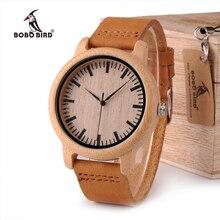 Бобо птица WA16 часы для мужчин и женщин Древесины Бамбука кварцевые Часы с Весы мягкие кожаные ремни