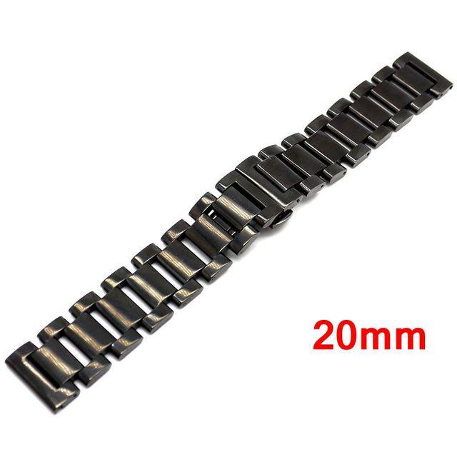 20mm Correa de La Venda de Acero Inoxidable Negro Pulsera Links Sólidos hebilla de Despliegue pulsador Para Mujeres Hombres Reloj de pulsera GD014620