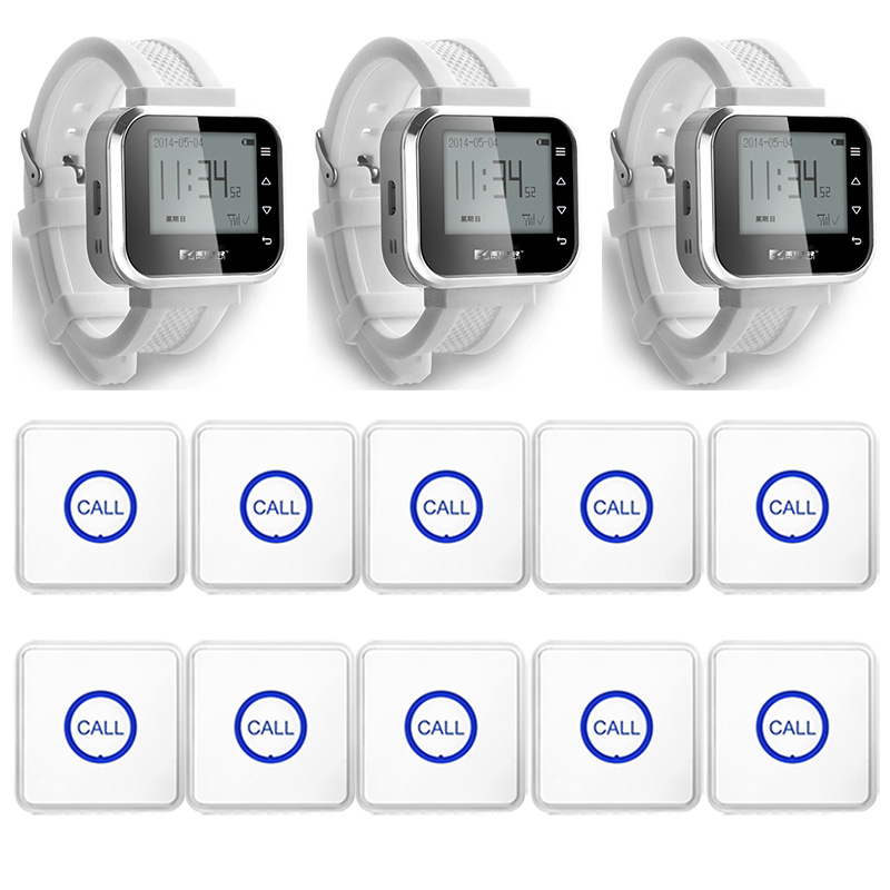 3pcs Hot Sale White Waiter Service Calling System Watch Pager Service System (KR-C166) + 10pcs F86 Wireless Transmitter one set wireless system waiter caller bell service 1 watch wrist pager with 5pcs table customer button ce passed