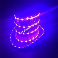 LZ34 LED purple light costumes ballroom dance luminous hat led dj singer chapeau glowing dancer cap bar club wears show dresses