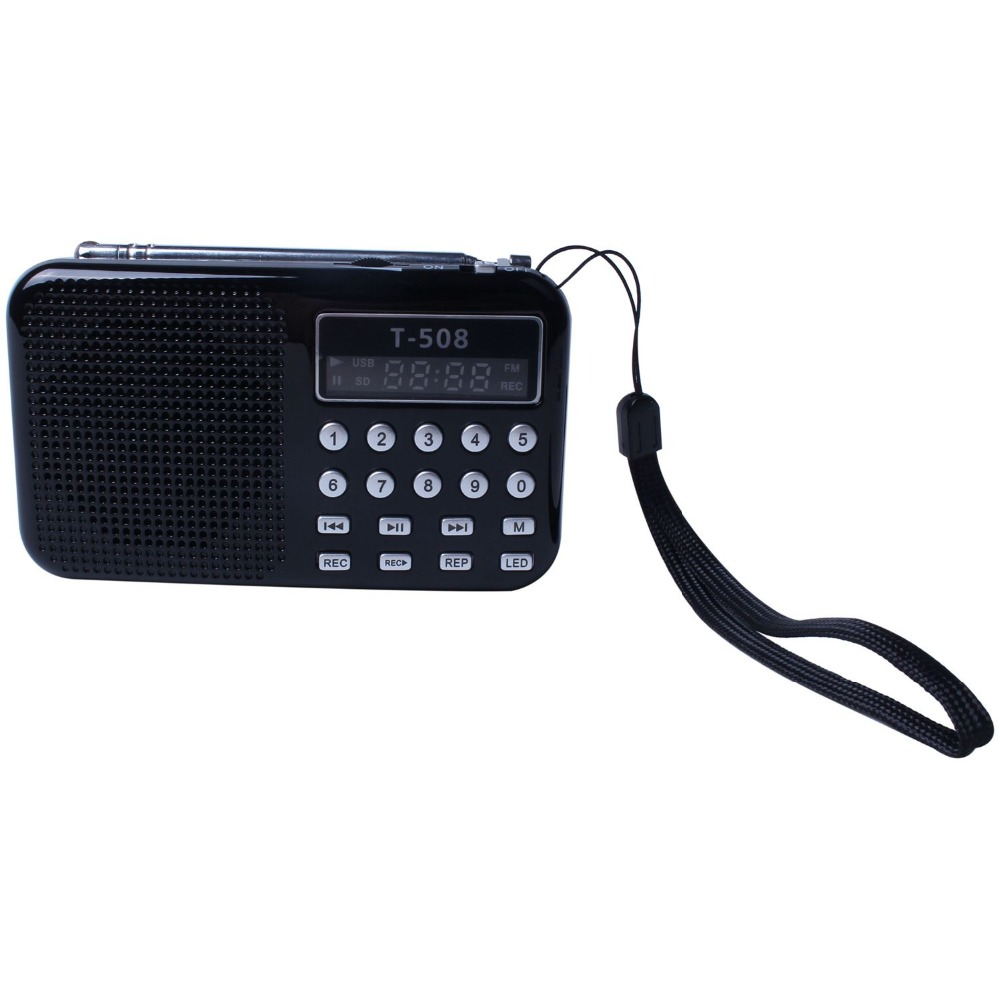 Portable Mini Stereo LCD Digital FM Radio Speaker USB TF Card Mp3 Music Player with LED Light and Rechargeable Battery mllse portable mini stereo super bass mp3 speaker sd tf usb fm radio music player tdv26 inserted udisk card speaker radio player
