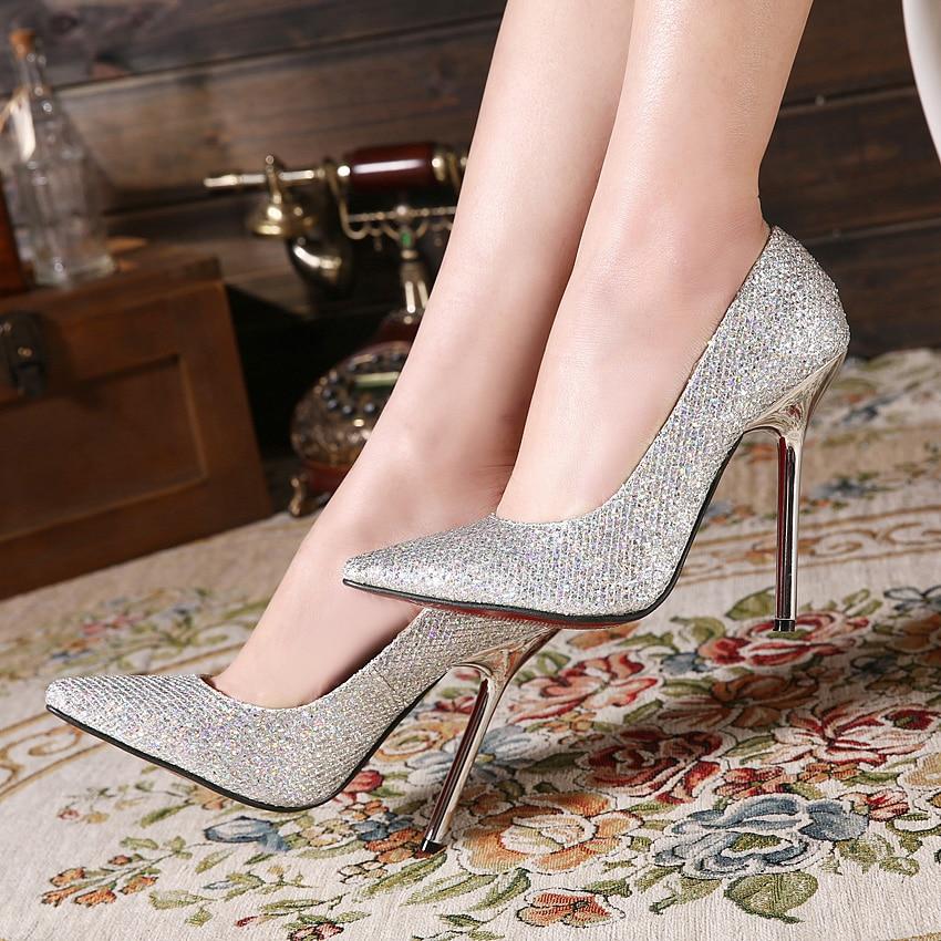2016 Fashion 13cm Metal Heels Women Shoes Glitter Pointed ...