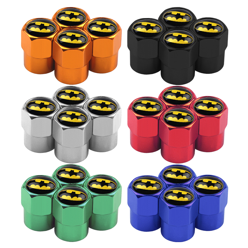 Image 2 - 4Pcs/Set Aluminum Car Tire Valve Caps Batman Emblem Logo Car Styling Tyre Stems Air Caps Auto Wheel Car Styling Accessories-in Nuts & Bolts from Automobiles & Motorcycles