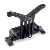 ACCSTORE Long Lens Support Height Adjustable 15mm Rod Clamp for DSLR Telephoto Lens Rod Support Rail System Follow Rig 222