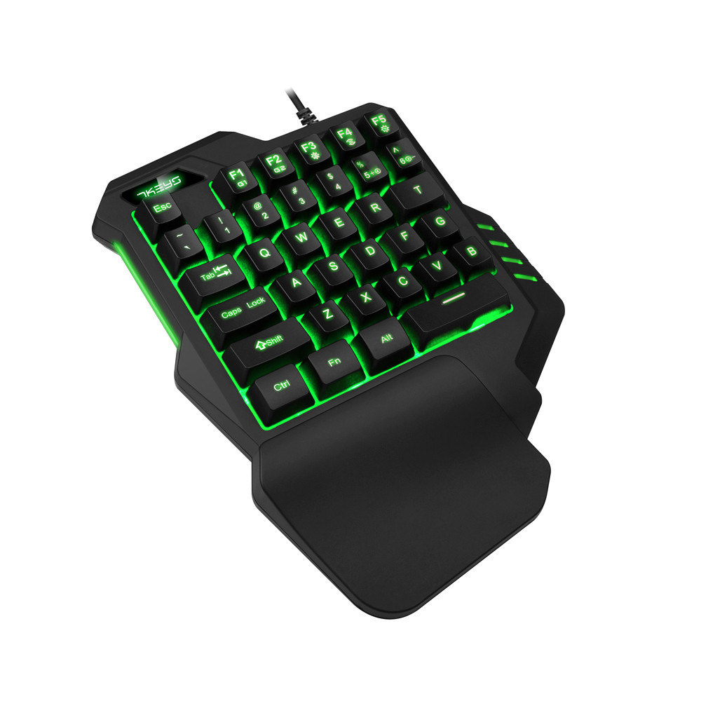 Wired Chicken Eating Gaming Keypad With LED Backlight 35 Keys One Handed Membrane Keyboard