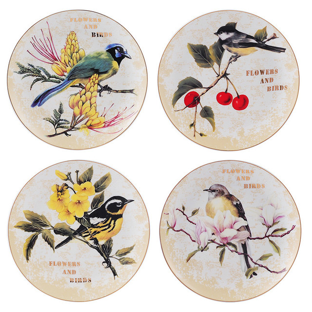 Modern European Style Home Hotel Decor Ceramic Wall Hanging Birds Pattern Decorative Dish Plates Wedding Gifts