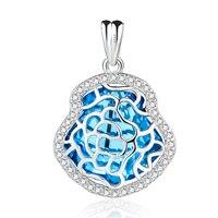 GND0844 100% Real 925 Sterling Zilveren Hanger Zoete Blauw Kristal Romantische Mode Hangers Vrouwen Sieraden & Accessoires