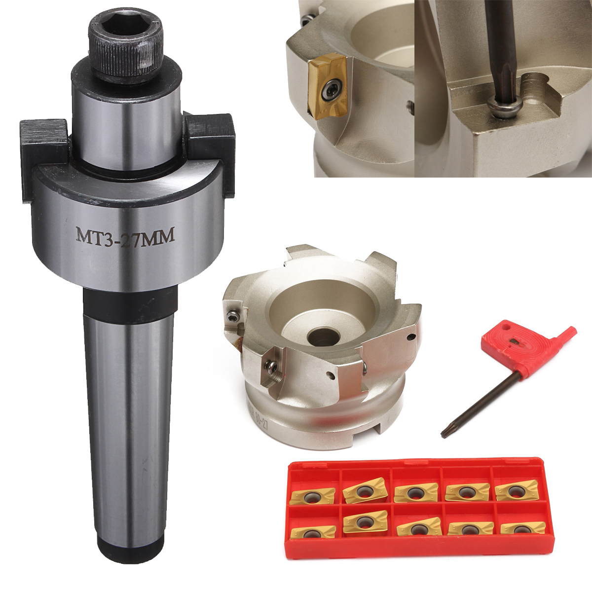 цены 1pc MT3 Morse Taper Shank + 400R-80-27 Face End Mill 80mm 90Degree Milling Cutter + 10pcs Insert with T15 Wrench